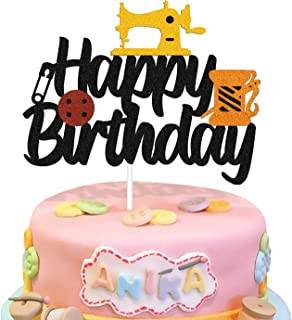 Sewing Machine Cake Topper Happy Birthday Sign Cake Decorations for Seamstress Tailor Themed Women Mother Birthday Party S...