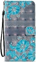 S9 Plus Wallet Case, Galaxy S9 Plus Case, JanCalm [Kickstand][Card/Cash Slots] [Wrist Strap] [3D Painted] Premium PU Leather Fold Flip Pouch Cover + Crystal Pen (Blue Flower Pattern)