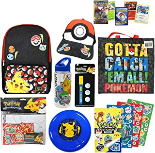 Pokemon Showbag Gift Pack with Backpack Cap Trading Cards Stickers and Toys Show Bag for Kids Birthday Christmas Easter Fa...