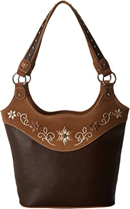 Embroidered Flower Bucket Tote
