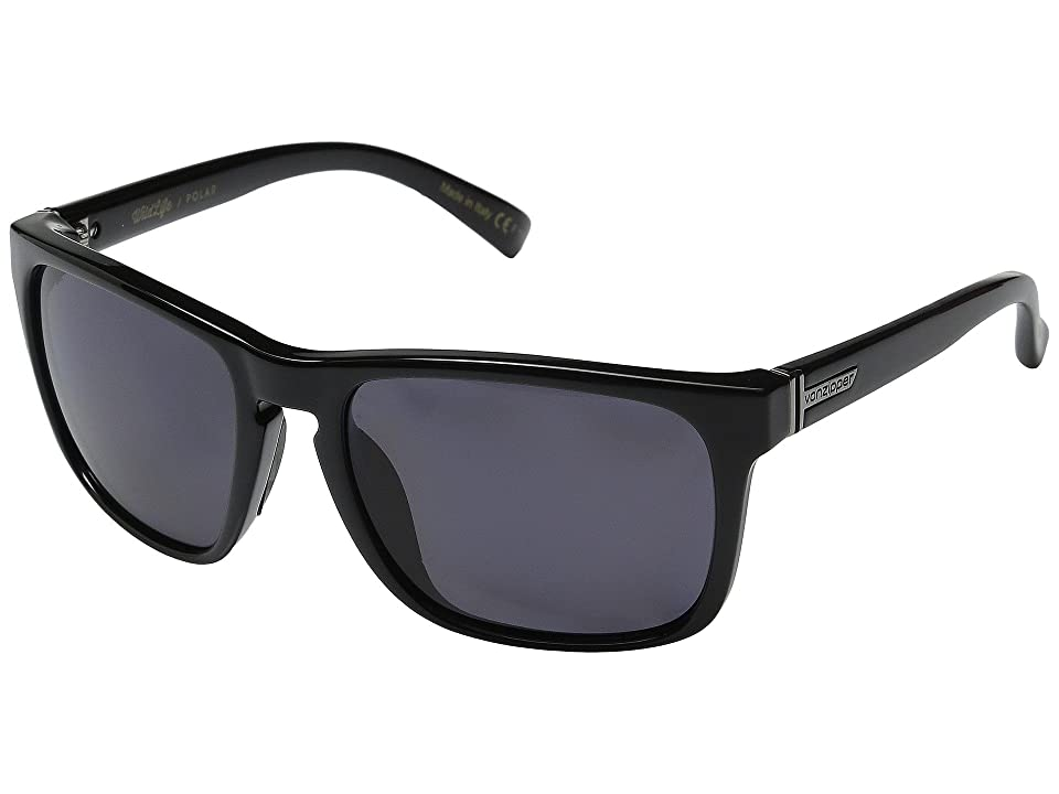 VonZipper Lomax Polarized (Black Gloss/Vintage Grey Wildlife Polarized Lens) Plastic Frame Sport Sunglasses
