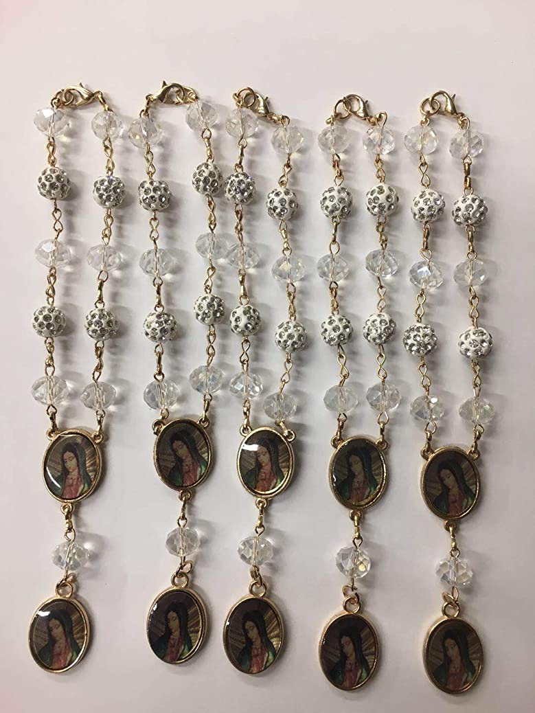 Bulk 12 Pc Crystal Lady of Guadalupe Car Auto Rosary with Gift Bag Perfect for First Communions, Baptism, Wedding Shower/Religious Gift / gztbabspit
