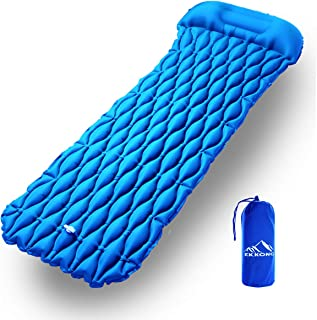 EKKONG Inflatable Sleeping Pad, Ultralight Sleeping Mat, Lightweight Small Packing Airbed for Camping, Outdoor, Travel, Hiking, Beach