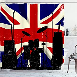 LONSANT Waterproof Bath Curtains Grunge Union Jack Flag as a bakground to a Rock Band Silhouette Shower Curtain Hooks Incl...