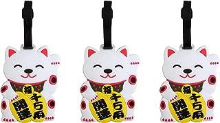 Japanese White Maneki Neko Lucky Cat Luggage Tag, 4 Inch, Set of 3