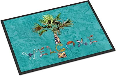 "Caroline's Treasures 8711JMAT Welcome Palm Tree on Teal Indoor or Outdoor Mat, 24 x 36"", Multicolor"