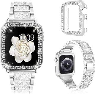 Pour les bracelets de montre Apple 38mm 40mm 42mm 44mm femmes bracelet en métal pailleté et étui de protection diamant Bli...