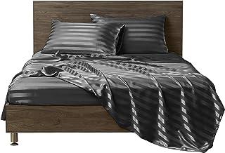 أغطية سرير من الساتان من MR&HM، مجموعة ملاءات كاملة الحجم، 4 قطع سرير حريرية مع جيب عميق 38.1 سم للمرتبة (كامل، رمادي داكن)