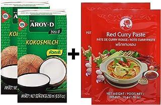 Paquete de 2 Leche de Coco AROY-D [2x 250ml] Cocosmilc - Leche de Coco + Pasta de Curry de Pollo rojo 2x50g
