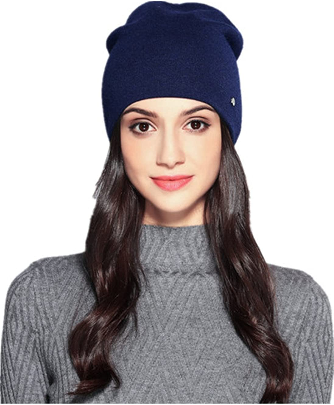 TanQiang Women's Hats Wool Casual Autumn Winter Double Layer Thick Knitted Hats For Girls Skullies Beanie Cap