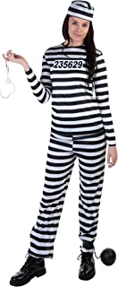 Adult Vintage Prisoner Costume Women's Striped Prison Costume X-Small Black,White