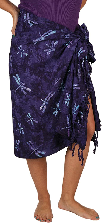 Curious Designs Batik Sarong  Aqua Dragonflies on Deep Purple, Fringed