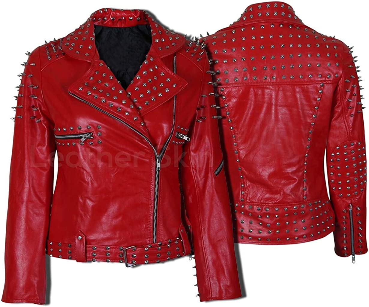 Biker Women Red Leather Jacket with Cone and Tree Spike Studds