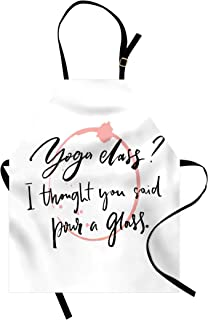 Lunarable Saying Apron, Sarcastic Saying Yoga Class I Thought You Said Pour a Glass and Wine Trace, Unisex Kitchen Bib with Adjustable Neck for Cooking Gardening, Adult Size, White and Black
