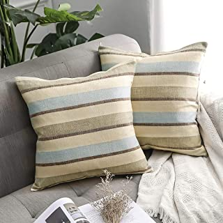 MIULEE Pack of 2 Decorative Classic Retro Stripe Throw Pillow Covers Cotton Linen Modern Farmhouse Pillow Case Blue and Tan Cushion Case for Sofa Bedroom Car 20 x 20 Inch 50 x 50 cm