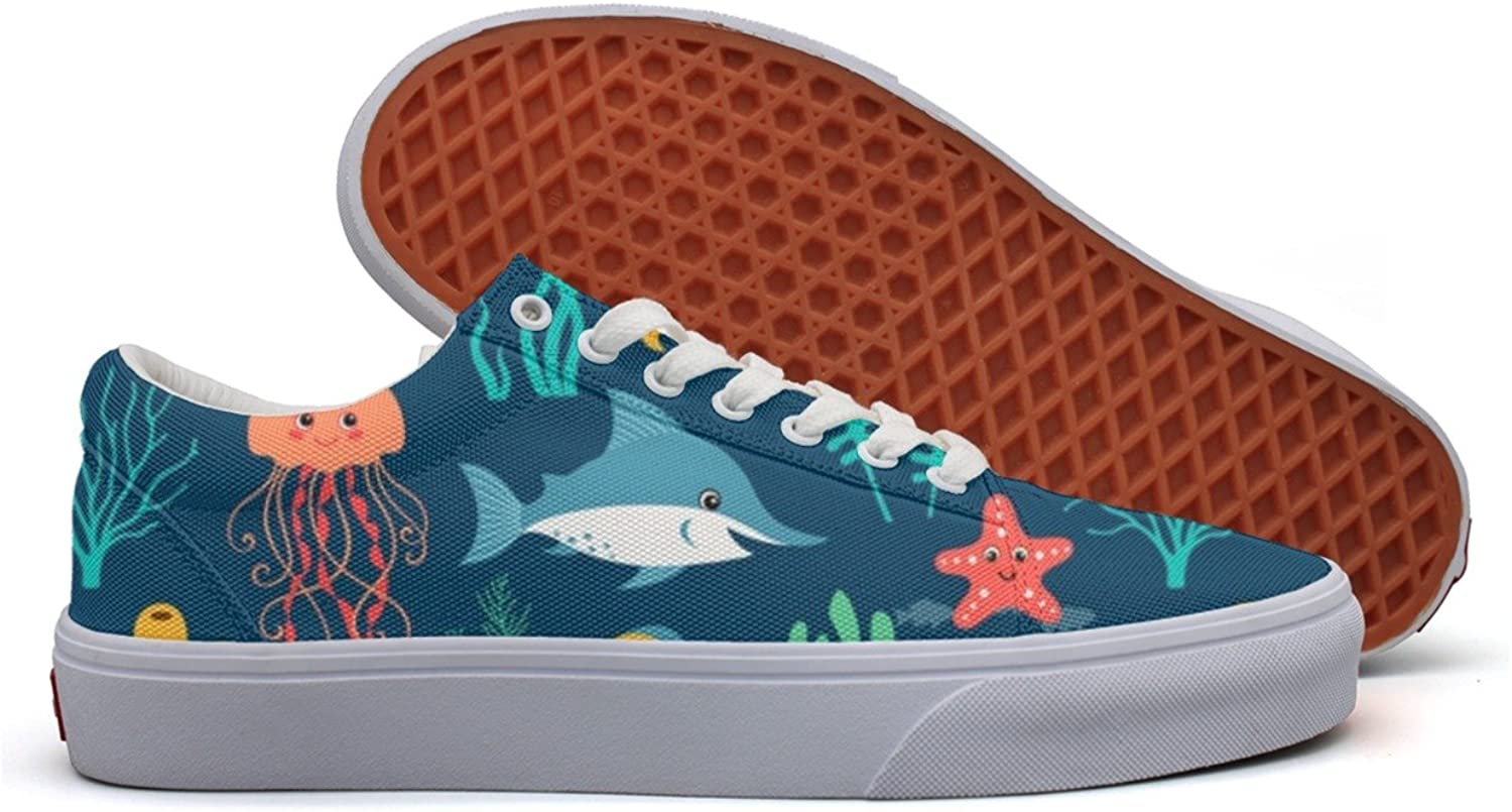 Fish Turtle Jellyfish Crab Womens Light Canvas Tennis shoes Low Top Retro Sneakers shoes For Women's