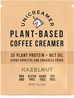 Unicreamer Vegan Non Dairy Coffee Creamer (New & Improved) - Single Serve Individual Packets With Pea Protein Powder & MCT | Eco Friendly, Keto & Gluten Free Plant Based (Hazelnut, 6)