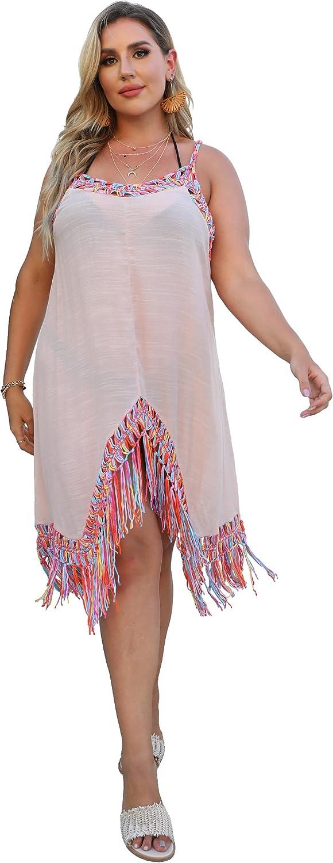 IBAOTORONI Women's Swimsuit Cover Ups Crocheted V Neck Tassels Dress Beach Bikini Plus Size Cover Ups for Swimwear
