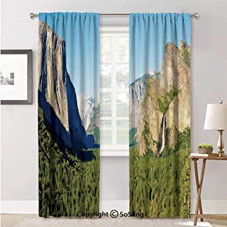 Curtains Window for Living Room,El Capitan Half Dome and Bridalveil Falls Tourist Attractions Decoration Green Blue,Curtain Panels and Drapes,52x96inch Each,2 Panels