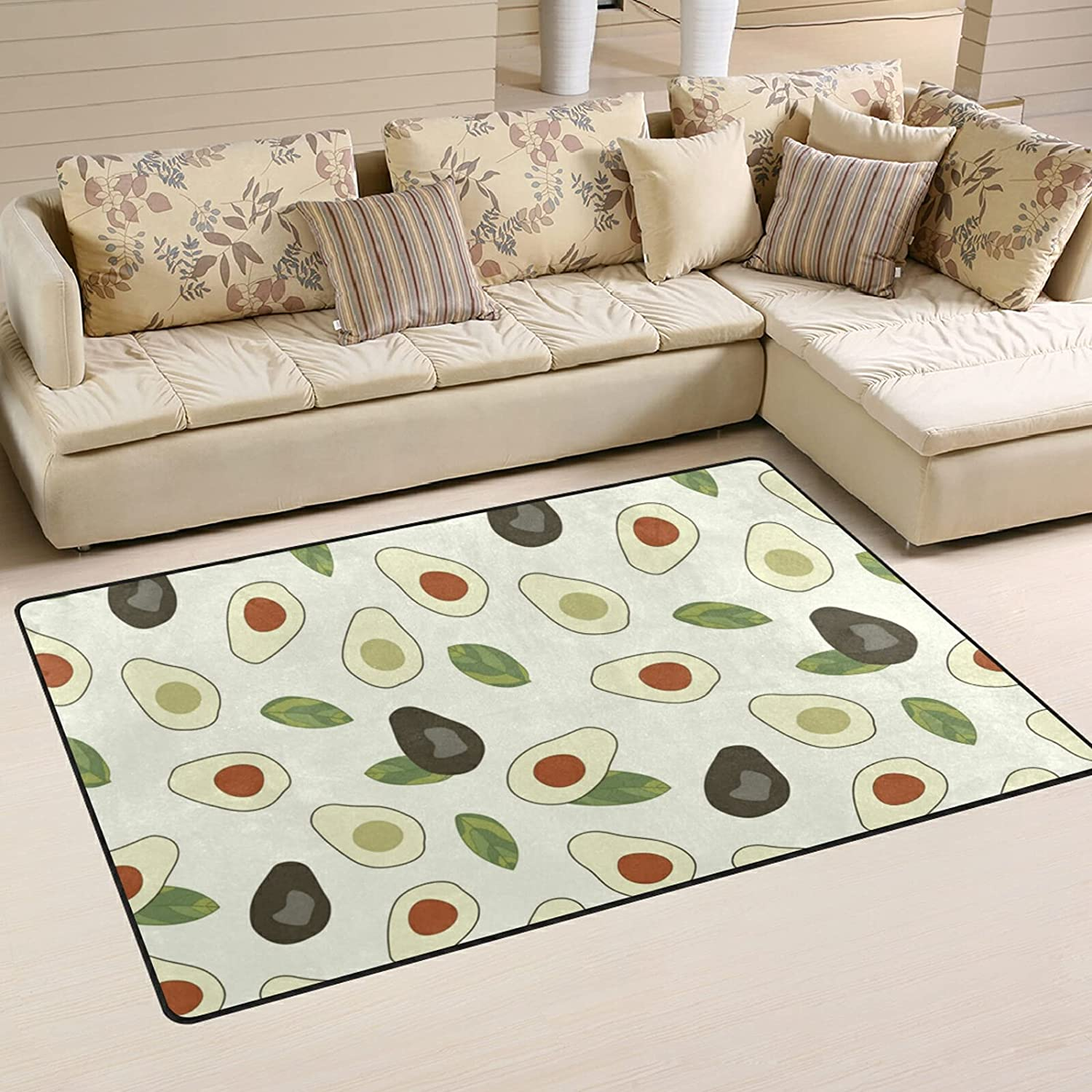 Cartoon Avocado Large supreme Soft Area Rugs Nursery Playmat Mat for Don't miss the campaign Rug