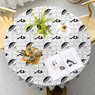 "Jktown Vintage Spill-Proof Table Cover Women Fashion Themed Elements Retro Style Hats Gloves Umbrella and Shoes Resistant/Spill-Proof/Waterproof Diameter 36"",Black Pale Grey White"