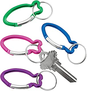 Fun Express - Aluminum Fish Clip Key Chain - Apparel Accessories - Key Chains - Novelty Key Chains - 12 Pieces
