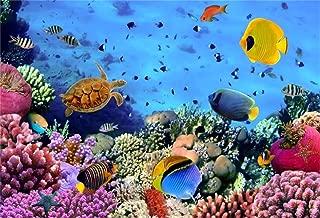 AOFOTO 7x5ft Undersea Coral and Fish Background Colorful Seabed Scene Marine Aquarium Photography Backdrop Kids Birthday Party Decoration Girl Boy Baby Child Newborn Portrait Photo Studio Props Vinyl