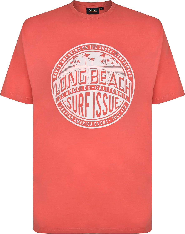 Espionage Camiseta para hombre Long Beach Surf Print en tallas XXL XXXL 4XL 5XL 6XL 7XL > 60 62 64 66 70 72 74 76 78 80 82 > Big Size Plus Big & Tall ...