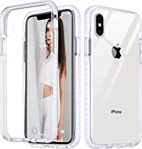 ULAK iPhone X Case, iPhone Xs Case Clear, Slim Fit Anti-Scratch Shock Absorption Bumper Cover, Hybrid Hard PC Back with Build in 4 Corners and Side Protection for iPhone X & XS 5.8 inch, Clear+White