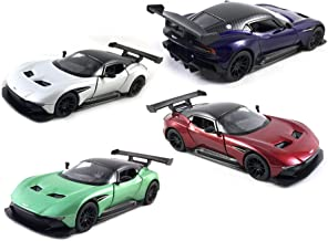 HCK Set of 4 Aston Martin Vulcan - Pull Back Toy Cars 1:36 Scale (White, Green, Red, Purple)