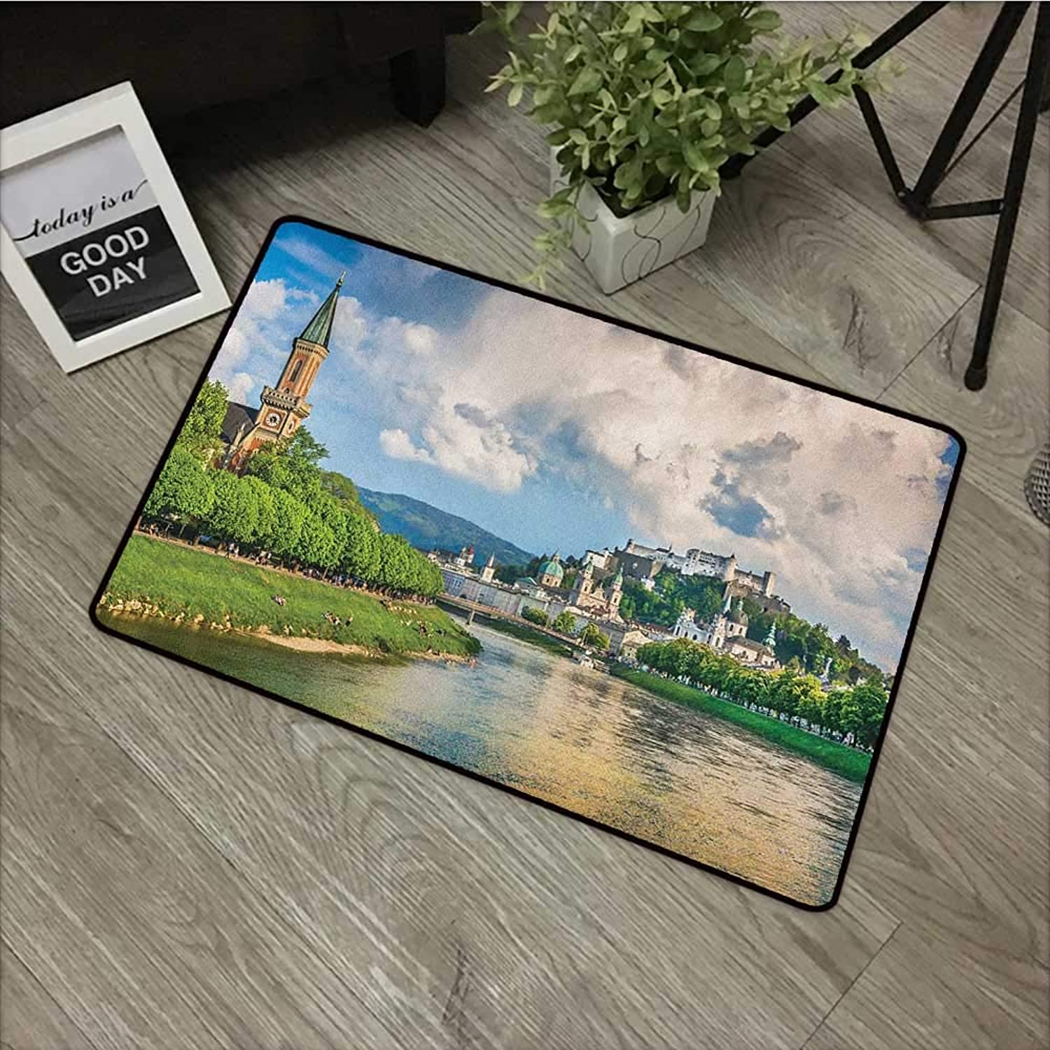 Square Door mat W35 x L59 INCH European,Historic Print European of Salzburg Land with Cloudy Sky and River in Austria, Multicolor with Non-Slip Backing Door Mat Carpet
