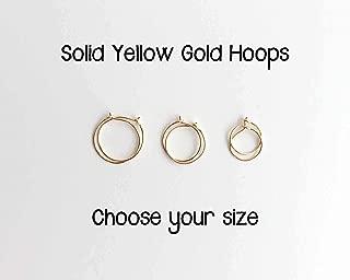 Small Solid 14k Yellow Gold Hoops. Mini Earrings Choose 8mm 10mm or 12mm in 24 Gauge or 22 Gauge 1 pair Minimalist Hypoallergenic Huge Sleeper Hoop Earrings