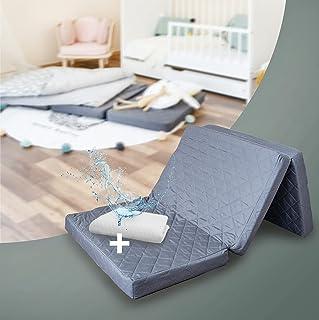 Alcube Reisebett Matratze 120 60 Klappbar - Set mit Matratzenauflage – für Baby Reisebett/Gästematratze SCHWARZ