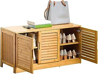 Range-chaussures/ Banc à Chaussures Banc De Meuble À Chaussures En Bambou Avec Porte, Petit Organisateur De Porte-chaussur...
