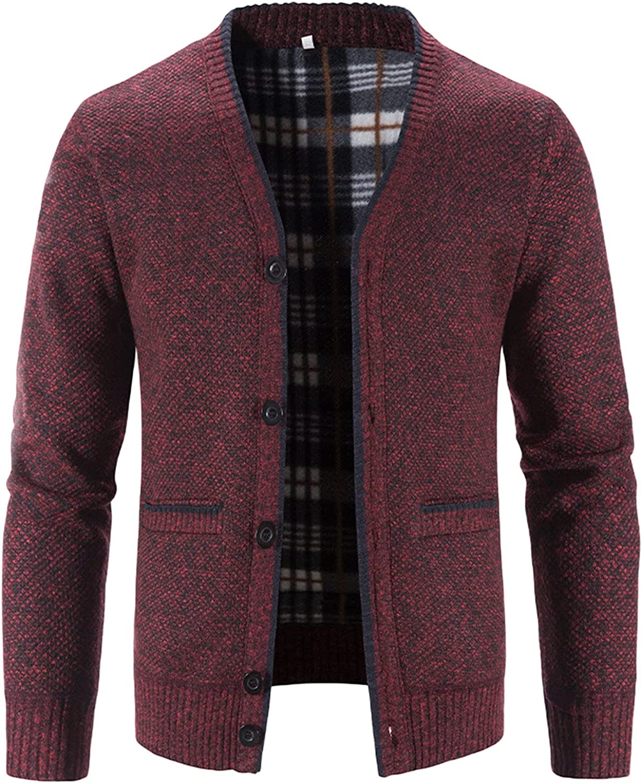 FORUU Knit Blazer Men Cardigan Sweater Block Printed Stand Collar Warm Mens Cardigan Fleece Jacket Mens Winter Coats