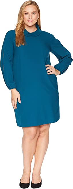 Plus Size Long Split Sleeve Crepe Shift with Roll Neckline