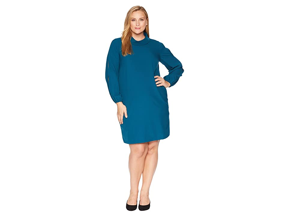 Tahari by ASL Plus Size Long Split Sleeve Crepe Shift with Roll Neckline (Ocean Teal) Women