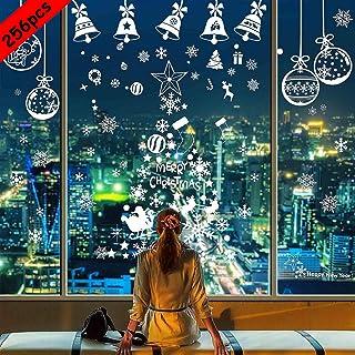 BESTZY Venstersticker voor Kerstmis, 256 Stuks, Raamstickers met Sneeuwvlokdecoraties voor Kerst, voor Ruit, Muur en Deur,...