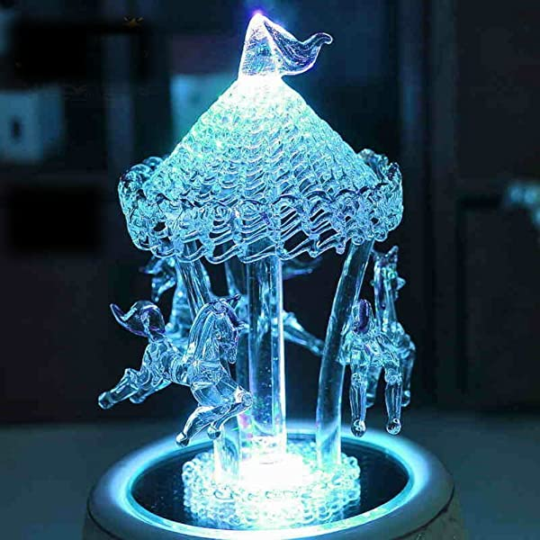 Qxmall K9 Crystal Multicolor Auto Color Changing Rotation Wind Up Carousel Music Box