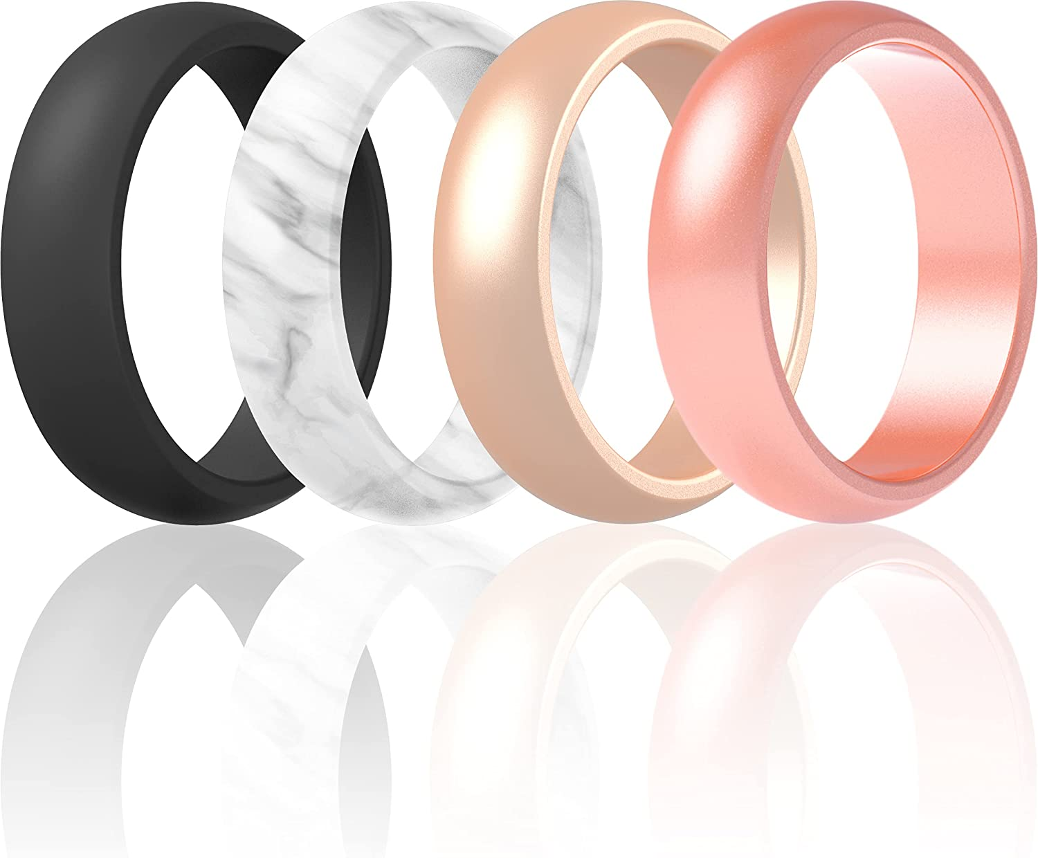 ThunderFit Silicone Wedding Bands for Women, Dome - 5.5mm Wide - 2mm Thick