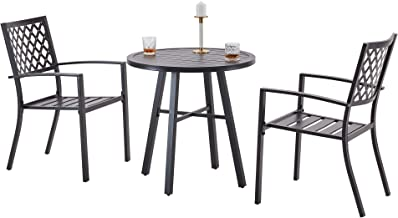 Outdoor Bistro Set 3 Piece, Patio Furniture Conversation Set, All Weather Metal Frame Table and Chairs