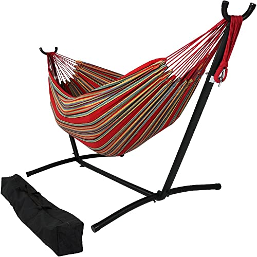 new arrival Sunnydaze Double Brazilian Hammock with Stand & Carrying Case - Large Two Person Hammock with Brazilian Stand wholesale - 400 Pound wholesale Capacity - Sunset outlet sale