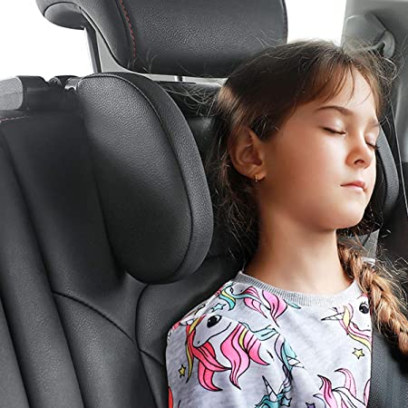 Car Seat Headrest Pillow,Head Neck Support Detachable, Premium Seat Head Pillow, 360 Degree Adjustable Both Sides Travel Sleeping Cushion for Kid Adults (Black)
