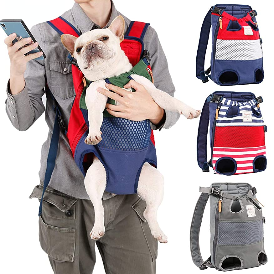 カヌーこの先例抱っこバッグ おんぶひも ペット抱っこひも 両手が使える 肩パッド付き 小中型犬用(グリーン×ネイビー)