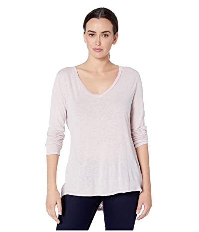 Dylan by True Grit Long Sleeve V-Neck Tee Knit Front with Eyelet and Embroidery Back (Bandana Pink) Women
