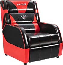 Gaming Recliner Chair Living Room Sofa Single Recliner PU Leather Recliner Seat Home Theater Seating with Removable Cushions Sracer (Red)