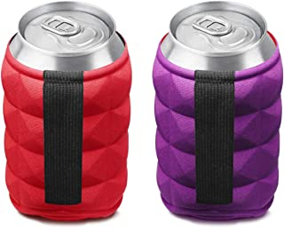 SUPER SOFT Beer Can Cooler Sleeves for Ice Cold Drink, Reversible Double Sided Embossed Design - 2 Pack Collapsible Insula...
