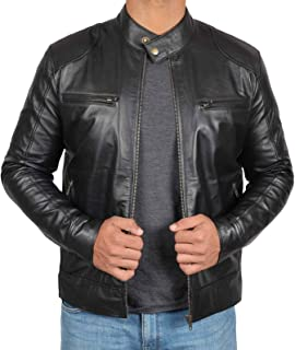 Blingsoul Black Biker Leather Jacket Men | [1100122] Dodge - S