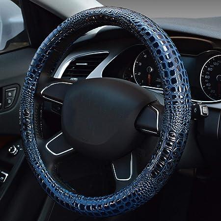 Honcenmax Mikrofaser Weich Fahrzeug Lenkradabdeckung Bequem Auto Lenkradschutz Universal Durchmesser 38cm 15 Krokodil Muster Auto