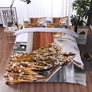 HOOMORE Bed Comforter - 3-Piece Duvet -All Season, Fried Scorpions as Snack at streedfood Market Beijing China,HypoallergenicDuvet-MachineWashable -Twin-Full-Queen-King-Home-Hotel -School